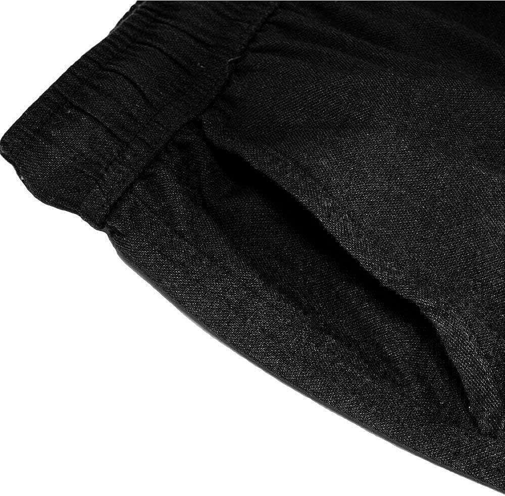 Pantalons Pantalon Décontracté Hommes Pantalons Lin Sport avec Poches Mode Chic Latérales Casual Pantalons De Loisirs Desserrées De Survêtement De Vêtements De Mode Schwarz