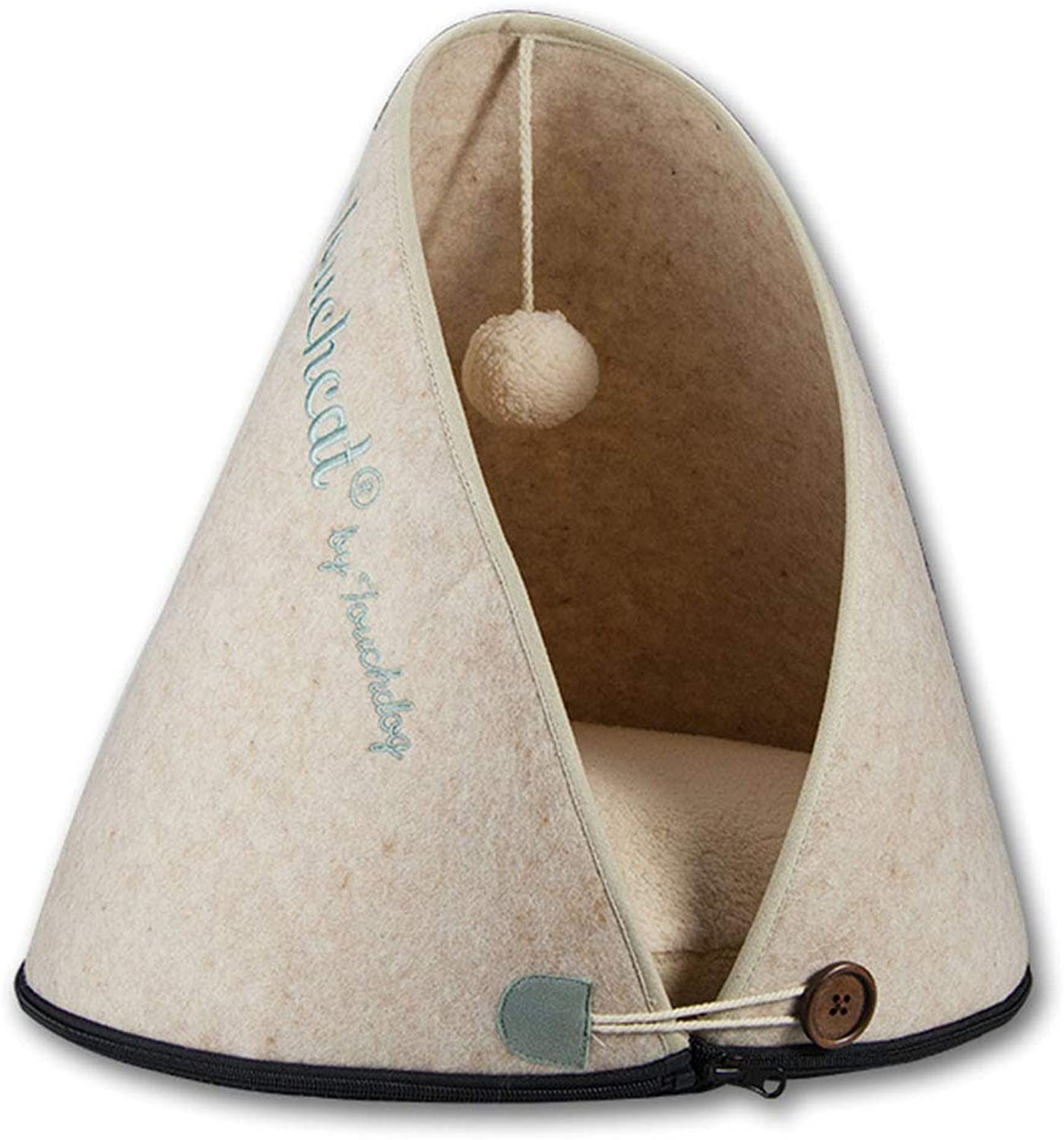 MeiHao Felt Cat Sleeping Bag, Closed Cat Bed House Soft Cat Cuddle Bed Cozy Pet Tent Pet Cave Nest with Warmer Cushion, Removable and Washable,Khaki