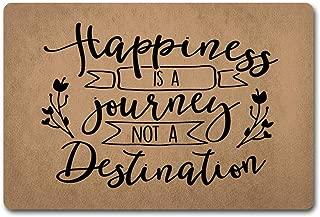 ZiQing Entrance Doormat Happiness is A Journey Not A Destination Doormat Life Quotes About Happy Door Mats-Indoor Outdoor Door Mat Non-Slip Doormat 23.6 by 15.7 Inch Machine Washable Non-Woven Fabric