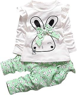 cbe8e7c494832f Kinlene Bambino bambini della neonata del fumetto Bunny T Shirt Top  Pantaloni Outfits 2Pcs vestiti Set