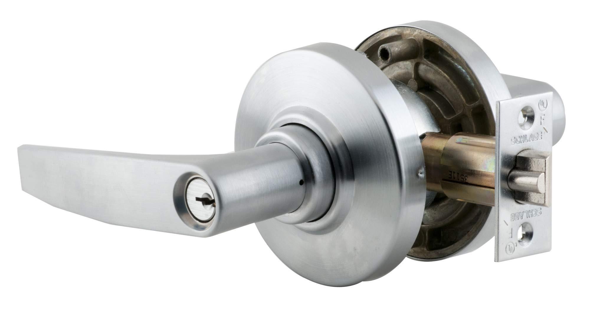 Satin Chrome Finish Storeroom Function Schlage commercial AL80PDJUP626 AL Series Grade 2 Cylindrical Lock Jupiter Lever Design