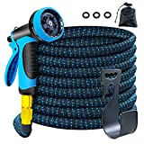 Autsurles Fexible Garden Hose 50ft withTriple Latex Core - Water Hose with 10 Function Spray Nozzle 3/4' Brass Fittings Expandable Garden Water Hose for Outdoor Watering Garden