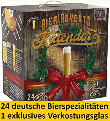 Kalea Bier-Adventskalender 2019 | 24 Deutsche Bier-Spezialitäten und 1 Verkostungsglas | 24 x 0.33 l Flaschen | Geschenkidee Zur Vorweihnachtszeit