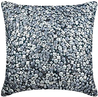 Decorative Teal Blue Euro Pillow Shams 26x26 inch, Silk Euro Size Pillow Shams, Abstract, Bling, Sequins Embellished, Modern Euro Sham Covers - Antique Silver Treasure