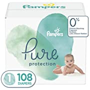 Diapers Newborn / Size 1 (8-14 lb), 108 Count - Pampers Pure Disposable Baby Diapers, Hypoallergenic and Unscented Protection, Giant Pack