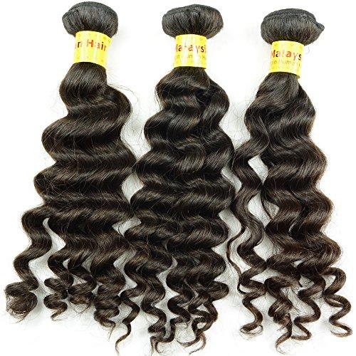 Noble Queen 10 A Cheveux vierge de Malaisie Tissage Courroie de cheveux bouclés profonde Cheveux humains Trame Extensions de cheveux tresses Noir 3 pièces