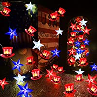 Gdithy 13-Feet 40-LEDs Red White Bule Stars and American Flag Hat String Lights