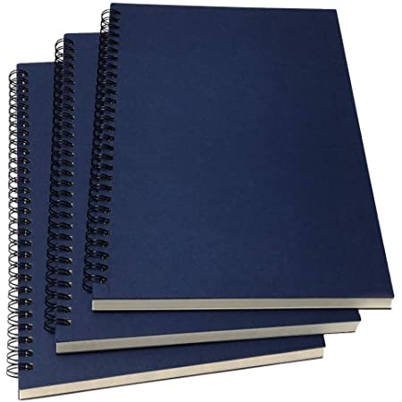 """YUREE B5 Spiral Notebook Lined, Spiral Ruled Journal with Hard Kraft Cover, 70 Sheets (140 Pages), 10.3"""" x 7.2"""", 3-Pack, Blue"""