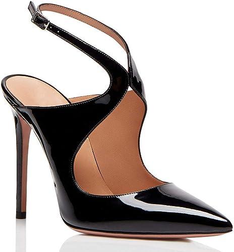 GBX Sandales à talons hauts pour femmes, à bout pointu, avec boucle à la cheville, après les chaussures à talons hauts vides, chaussures de mariage à la mode (hauteur du talon  12 cm),La chair,43