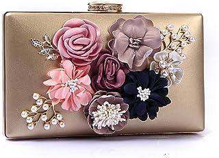 Shoulder Bag Ladies Evening Package Flower Pearl Bride Clutch Fashion Party Bar Appointment Oblique Cross Dress Bag Handbag Clutch (Color : Gold, Size : One Size)