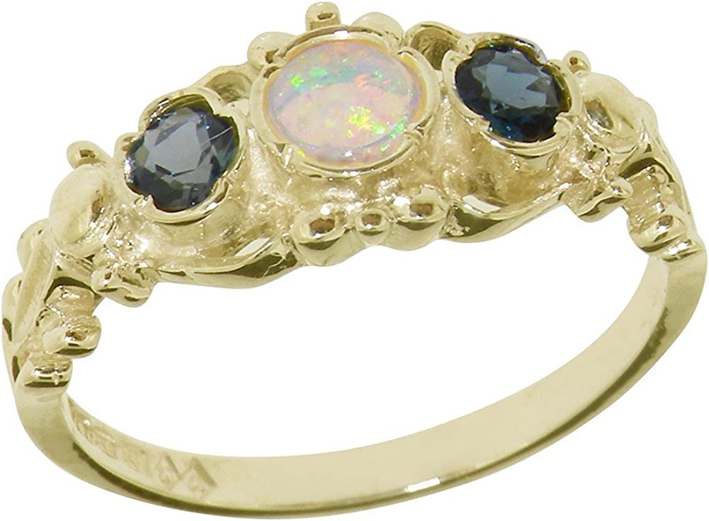 LetsBuyGold 14k Yellow Gold Real Genuine Opal & London Blue Topaz Womens Band Ring
