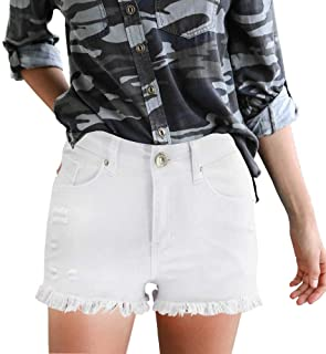 DREAGAL Women's Casual Summer Ripped Raw Hem Denim Shorts with Pockets