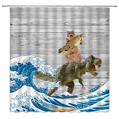 Funny Cat Shower Curtain Cat Riding Dinosaur Lovely Animal Kitten Dino Japanese Great Waves Vintage Wooden Comic Creative Art for Pet Lover Kids Bathroom Decor Fabric Curtain with 12 Hooks,70x70 Inch