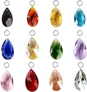 SunAngel Teardrop Glass Beads for Jewelry Crystal Glass Pendants Suncatchers Chandelier Prism Parts Beads for Decoration Party Christmas Wedding (12PCS Crystal Grid Shape)