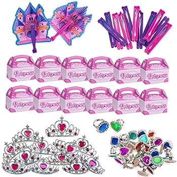 Funny Party Hats Princess Party Supplies - Party Favors - 72 Pc Set - Tiaras Princess Fans Treat Boxes & Princess Rings