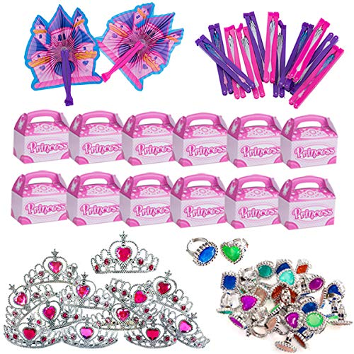 Princess Party Supplies - Party Favors - 72 Pc Set - Tiaras, Princess Fans, Treat Boxes & Princess Rings by Funny Party Hats