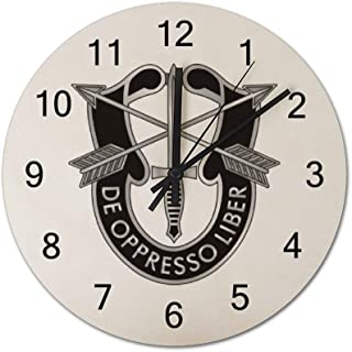 Army-Special-Forces-logoDecorative Clock Quiet Non-Ticking Quartz Clock Solid Wood Weighs 0.8 pounds, Round 12 inches