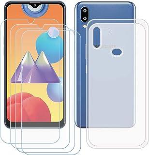 TTJ Genomskinligt skal för Samsung Galaxy M01S [4 stycken] HD pansarglas, mobiltelefonfodral silikon skyddande hölje TPU C...