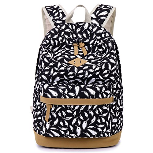 Donykarry Mädchen Schulrucksack Damen Canvas Rucksack Jugendliche Große Schultasche Outdoor Freizeit Daypack mit Moderne Feder Muster (Schwarz)