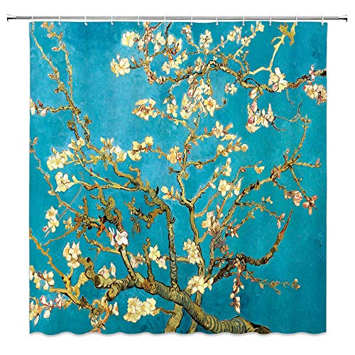 JessFash Vincent Van Gogh Shower Curtain Blue Almond Blossoms Artistic Materpiece Apricot Blossom Oil Painting Flower Vintage Fabric Bathroom Curtain Setwith Hooks 72x72 Inch