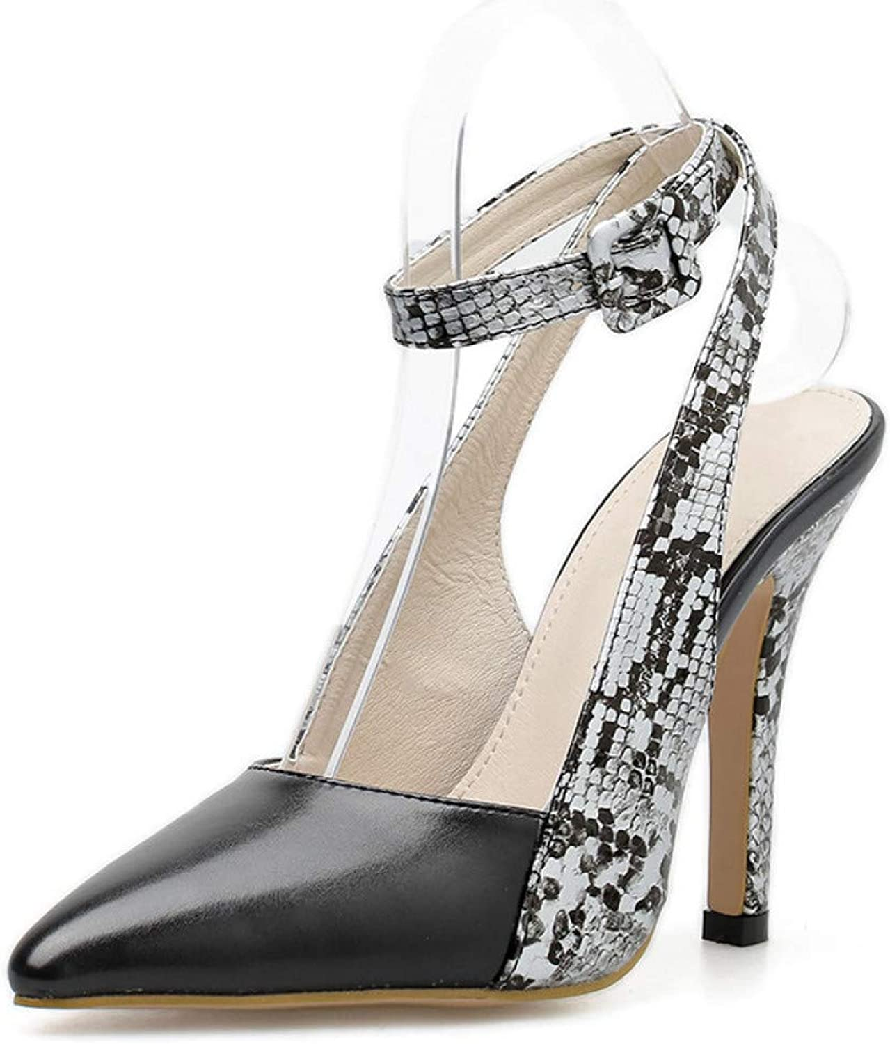 GHIJN High Heels Spring Autumn Party Pumps Pointed Toe Stiletto Iron High Heel Slingback Buckle Strap Ladies shoes