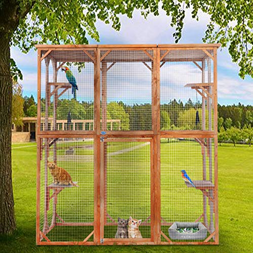 """Price comparison product image BWM.Co Large Wooden Cat Dog Enclosure Catio Pet Cage for Outdoor with 6 Platforms,  Weatherproof Roof,  66.5""""x34.6""""x71"""""""