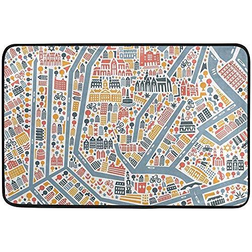 qinzuisp Deurmat Amsterdam Stadskaart Badtapijten Welkom Deurmatten Niet Slip Entreetapijt 40X60cm Deurmat