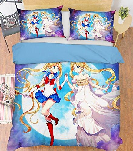 AJ WALLPAPER 3D Sailor Moon 200 Fundas De Almohada Edredón Juego De Funda Nórdica Soltero Reina Rey 3D Foto Lecho ES Wendy (Full)