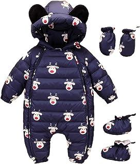 Bebé Mameluco con Capucha de Pluma Invierno Conjunto de Ropa Navidad Traje de Nieve con Guantes y Botines Azul 6-9 Meses
