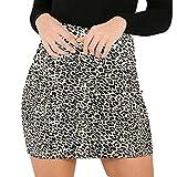 Skang Mujer Corto Falda Lápiz de Cintura AltaElástica Básica Estampado de Leopardo Sexy Minifalda Skirt...