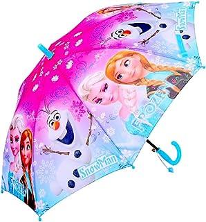 Kid's Cartoon Umbrella Girl's Umbrellas Brolly Sun Rain (blue elsa)