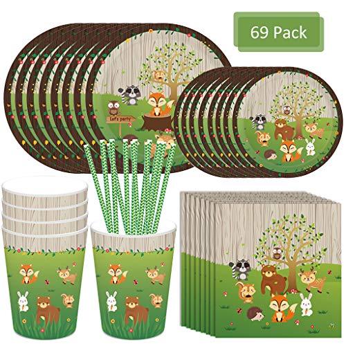 Amycute 69 pcs 8 niños Vajilla Diseño Animal , Decoracion Verde Vasos, Platos, Servilletas, pajas Vajilla de cumpleaños Infantil Fiesta de cumpleaños Infantil Baby Shower