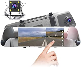 D-elfin Backup Rear View Camera Mirror Dash Cam 7 Inch Dual Len IPS Touch Screen Dash Cam 1080P Front and Rear View Waterproof Backup Camera 170/°Wide Angle Monitor Motion Detection Car Vehicle Driving DVR Recorder