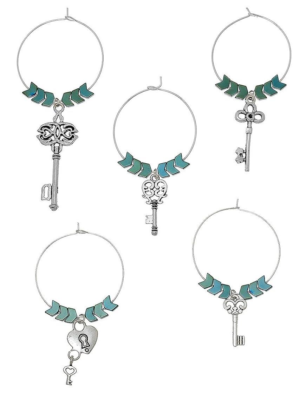 Wine Glass Charm Tags With Green Hematite Beads Set (Keys and Lock Theme)