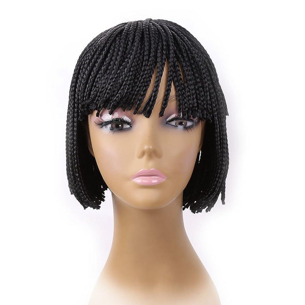 Fashion Braided Box Braids Wig Synthetic Hair Women Lady Daily Costume Full Head Wig Natural Black Color (8inch) cpyjdkwbigu70