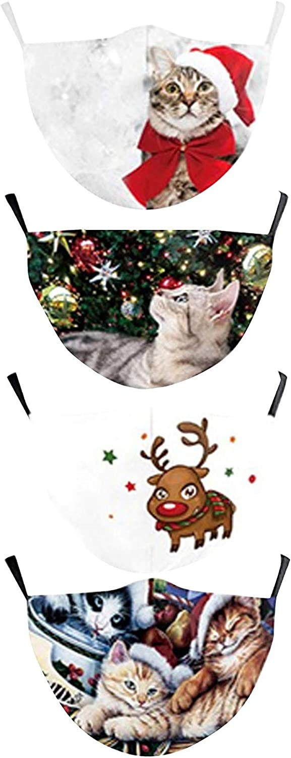 【US Stock】4PC OFFicial shop Women Christmas Face_ for Adult Mask famous Mul
