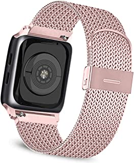 Meliya Metal Loop Bands Compatible for Apple Watch Band 38mm 40mm 42mm 44mm, Adjustable Stainless Steel Magnetic Closure Wristband for iWatch Series 5 4 3 2 1 (Rose Pink, 38mm/40mm)