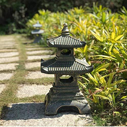 Adornos Jardín japonés Lámpara de Paisaje Jardín Lámpara de Piedra Antigua Templo Cuatro Esquinas Linterna de Piedra Jardín Piedra Torre Decoración de Piso- 30 * 50cm Gris Claro