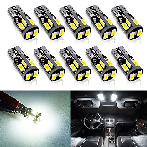 Antline 194 168 2825 T10 W5W Error Free LED Bulb White, Super Bright 300 Lumens 10-SMD 5730 Chipset LED Bulbs for Interior Dome Map Door Courtesy License Plate Lights, Pack of 10