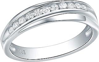 Wuziwen 5mm Wedding Band Eternity Ring for Women Engagement Bridal Sterling Silver White Cz