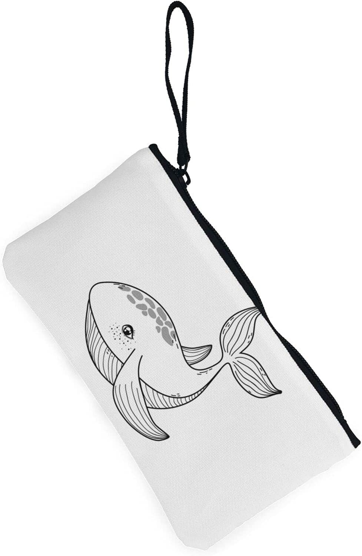 AORRUAM Animal whale Canvas Coin Purse,Canvas Zipper Pencil Cases,Canvas Change Purse Pouch Mini Wallet Coin Bag