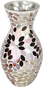 Lily's Home Colorful Mosaic Glass Flower Vase for Flower Centerpieces. 11 Inch Tall (Gold & Silver)