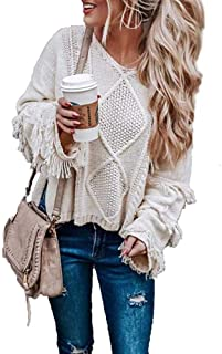 Femichars Women Pullover Sweaters Loose Knit Long Sleeve Pullover with Tassels
