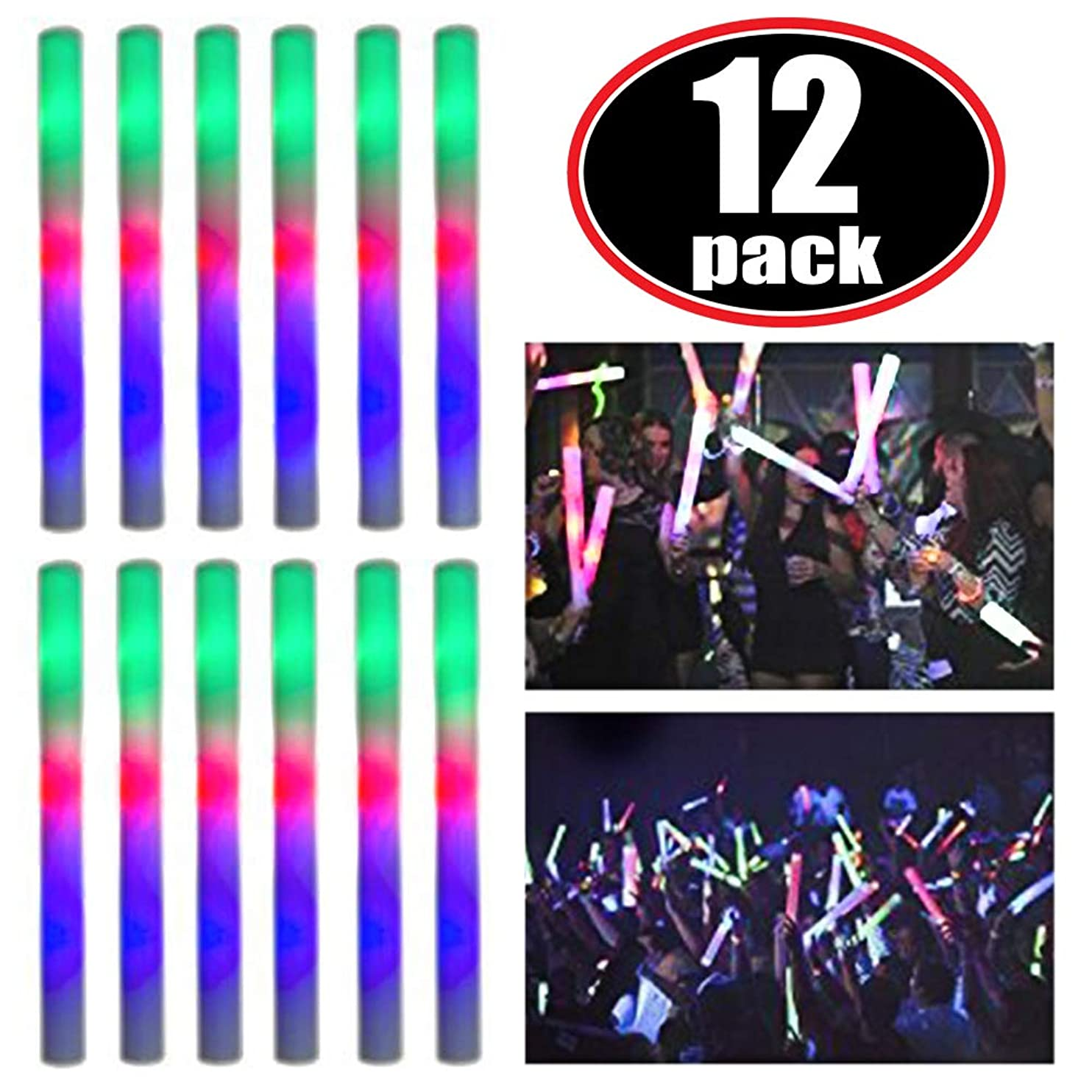 Super Z Outlet Upgraded Light up Foam Sticks, 3 Modes Colorful Flashing LED Strobe Stick for Party, Concert and Event (12 Pack) dowwgiclecj01