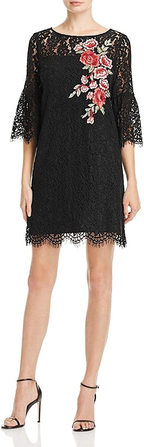 Karen Kane Womens Lace Floral Embroidered Mini Dress