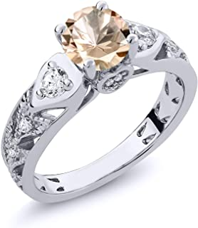 925 Sterling Silver Peach Morganite Women's Ring 1.86 Ctw Round (Available 5,6,7,8,9)