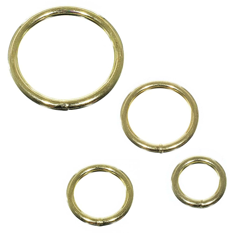Craft County 50 Pack Assorted Multi-Purpose Metal O-Rings – Gold – Hardware, Rings, Handbags, DIY Accessories – Includes 3/4 Inch (19 mm), 1 Inch (25 mm), 1 1/4 Inch (32 mm), 2 Inch (51 mm)