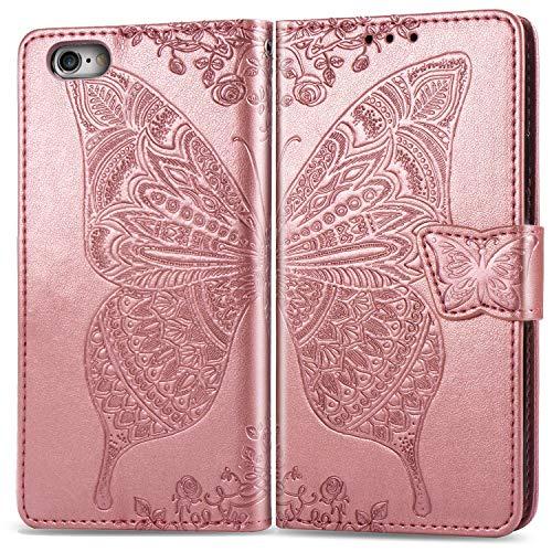 ZTOFERA Flip Case für iPhone 6/6S, Schmetterlings-Prägemuster Brieftasche mit [Magnetverschluss] [Kartenfächer] [Ständer] [Handschlaufe], Slim Cover für iPhone 6/6S - Roségold