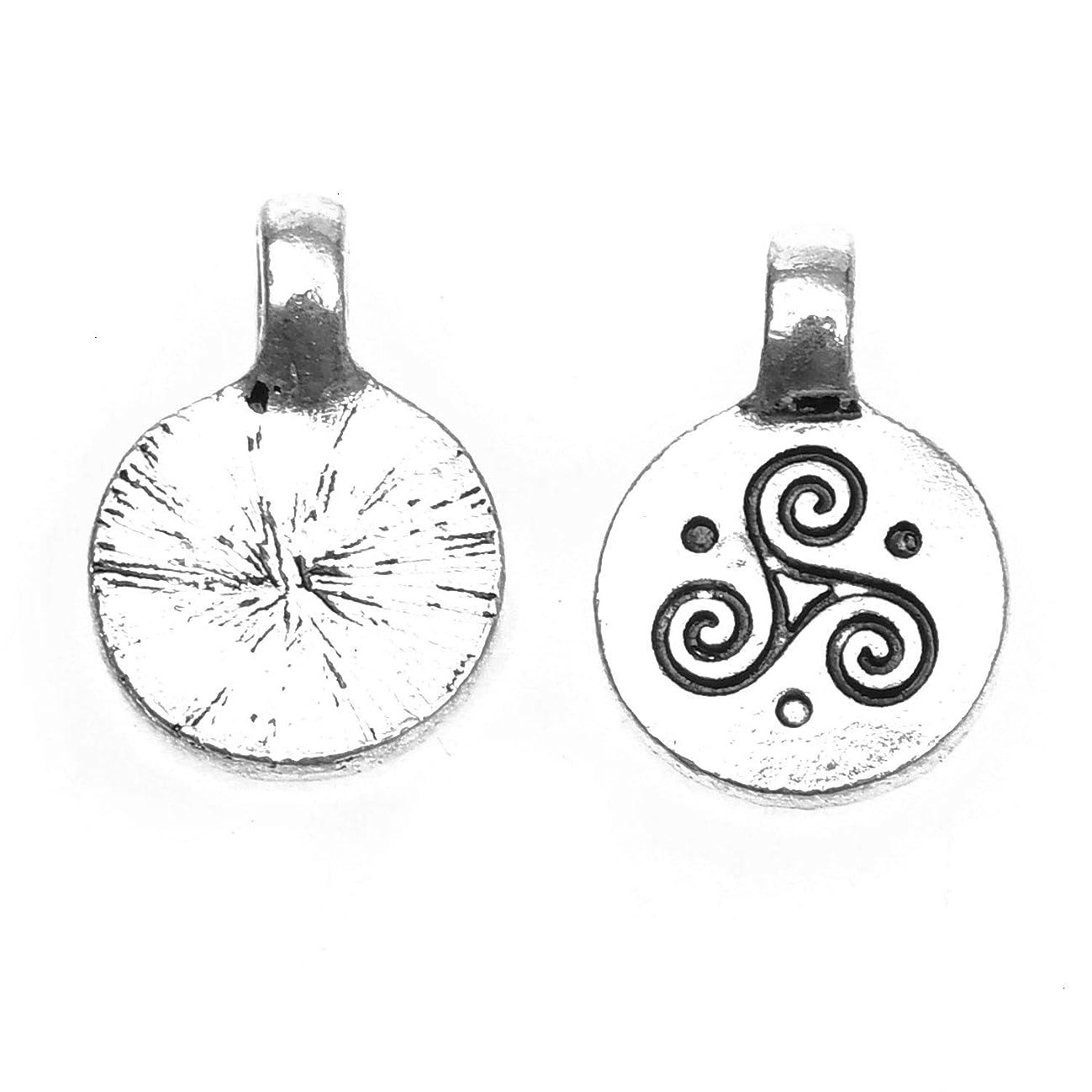 Monrocco 50 Pcs Antique Silver Triple Spiral Charm Celtic Triskele Charms Pendant for Bracelets Jewelry Making