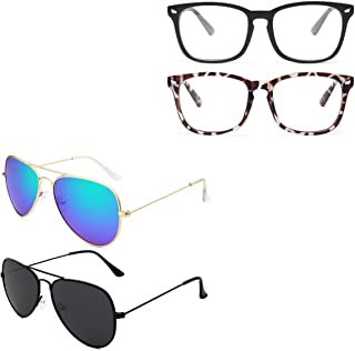 Livho 2 Pack Blue Light Blocking Glasses & 2 Pack Aviator Polarized Metal Mirror Sunglasses Bundle for Men Women